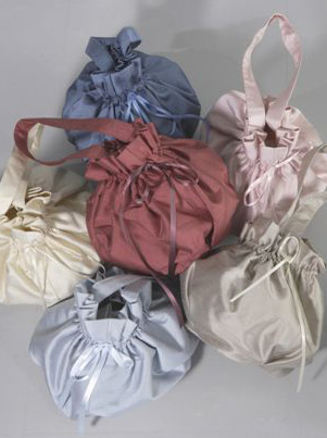 silk bag for flower girl and bridesmaids by UK designer Nicki Macfarlane