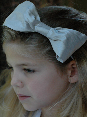 Silver Hair Bow for flower girl, bridesmaids and parties by UK designer Nicki Macfarlane