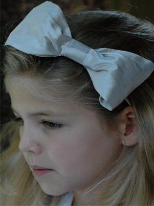 Silver Hair Bow for flower girl, bridesmaids and parties by UK designer Nicki Macfarlane