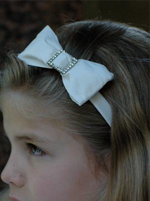Ivory buckle hairband for flower girls, bridesmaids and parties by UK designer Nicki Macfarlane