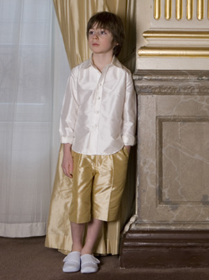Silk french shorts for Page boys by UK designer Nicki Macfarlane