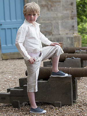 Page boy trousers in silk or linen by UK designer Nicki Macfarlane