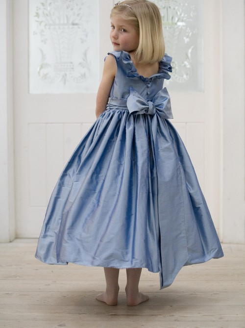 Blue silk flower girl or bridesmaid dresses by UK designer Nicki Macfarlane