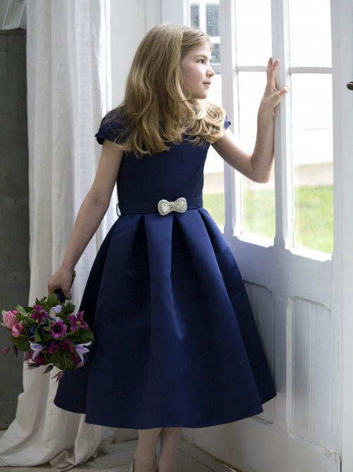Navy satin flower girl or bridesmaid dresses by designer Nicki Macfarlane UK