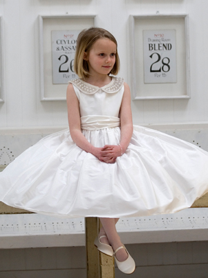jessica ivory Communionl dress in ivory or white silk. UK designer Nicki Macfarlane