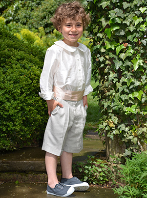 Page boy silk linen shorts by UK Designer Nicki Macfarlane