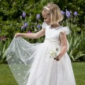 Tinkerbell, ivory or white Flower girl or Bridesmaid dress with sparkly tulle. By UK designer Nicki Macfarlane