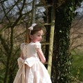 Shell Pink Flower girl Dress, Chloe by UK designer Nicki Macfarlane