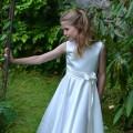 Claudette, Communion dresses UK, white satin dress by UK designer Nicki Macfarlane