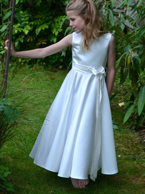 Claudette, Communion dresses UK, white satin dress by UK designer Nicki Macfarlane