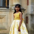 Eleanor gold flower girl or bridesmaid dresses by UK designer Nicki Macfarlane