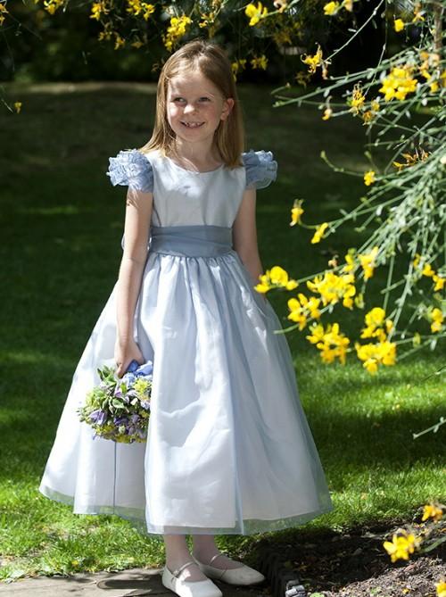 Francesca blue, organza flower girl and bridesmaid dresses by UK designer Nicki Macfarlane