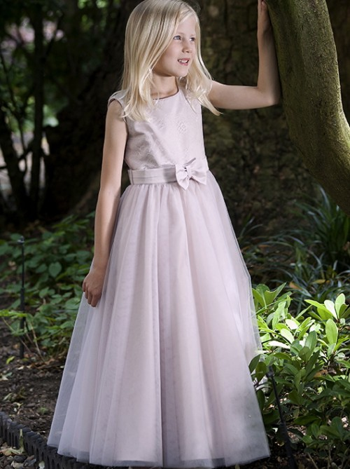 Mia, dusky pink tulle flower girl or bridesmaid dresses by UK designer Nicki Macfarlane