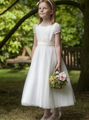 Layla, lace bodice and organza skirt flower girl or bridesmaid dresses by UK designer Nicki Macfarlane