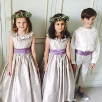 Silver and violet flower girl and page boy outfits from UK designer Nicki Macfarlane