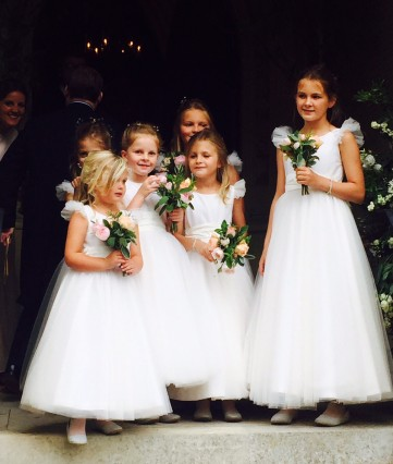 Fairy tale wedding with Nicki Macfarlane bespoke flower girl or bridesmaids dresses in ivory tulle
